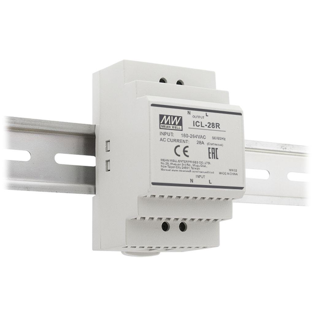 Mean Well ICL-28R AC DIN rail Inrush Current Limiter; 48A inrush limiting current; 28A continuous; Input 180-264VAC; Rail mounted