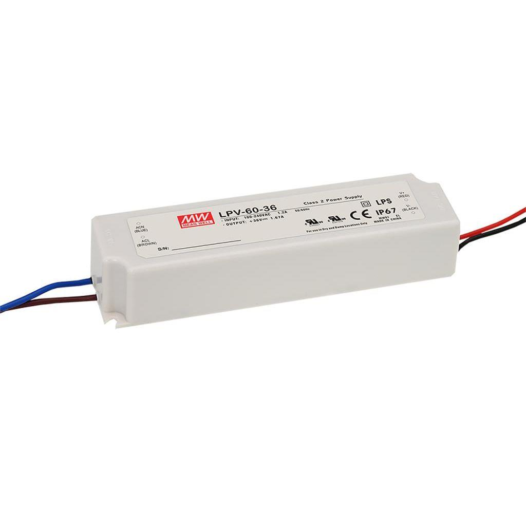 Mean Well LPV-60-24 AC/DC C.V. Box Type - Enclosed 24V 2.5A Single output LED driver