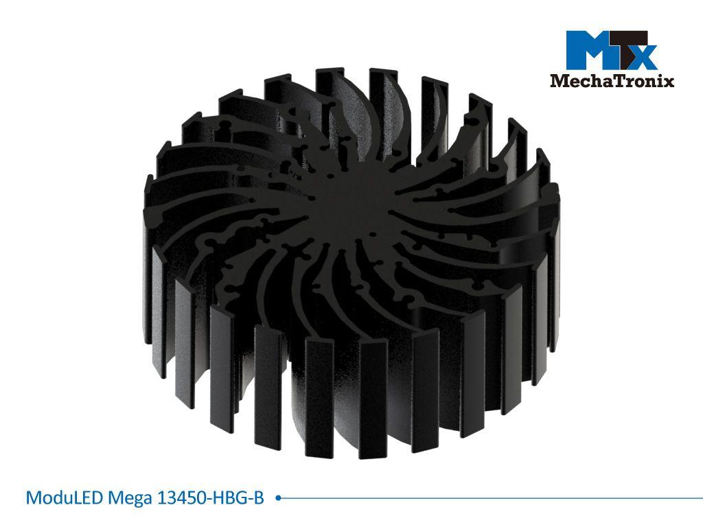 Mechatronix MODULED MEGA 13450-B-HBG Modular LED Star Cooler for low and high bay from 5,500-11,000 lm with Meanwell HBG series drivers; ø134mmxH50mm; Rth 0.88°C/W; Mounting holes for Zhaga book 3 LED