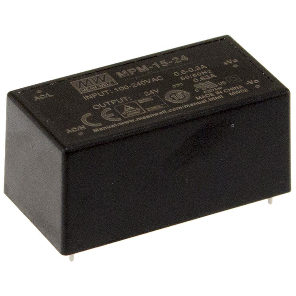Mean Well MPM-15-15 AC/DC PCB Mount - Through Hole 15V 1A Power Supply