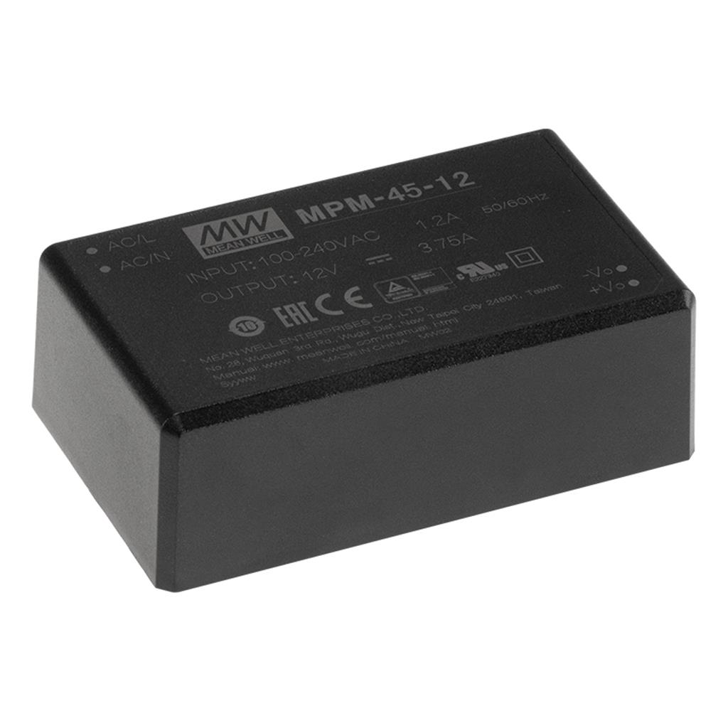 Mean Well MPM-45-12 AC/DC Encapsulated 12V 3.75A Single output Power Supply
