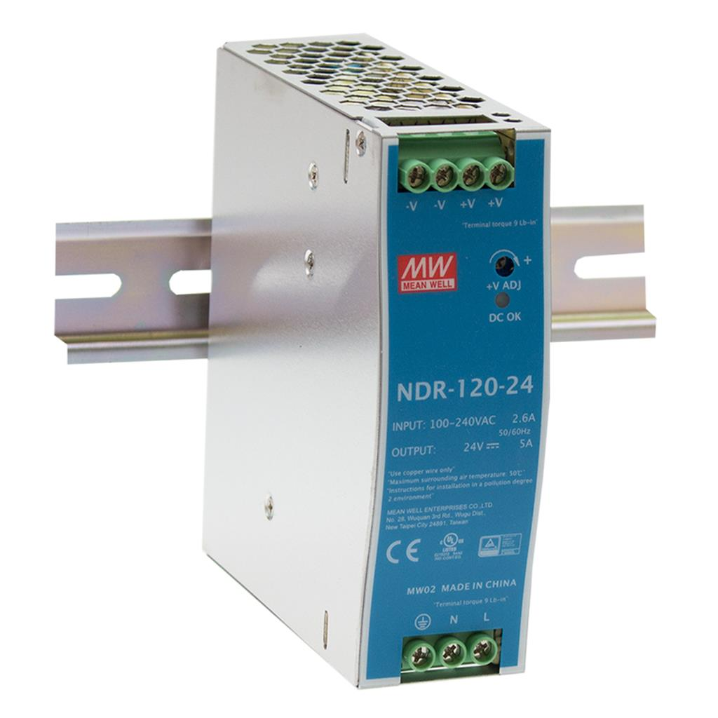 Mean Well NDR-120-24 AC/DC DIN Rail 24V 5A Power Supply
