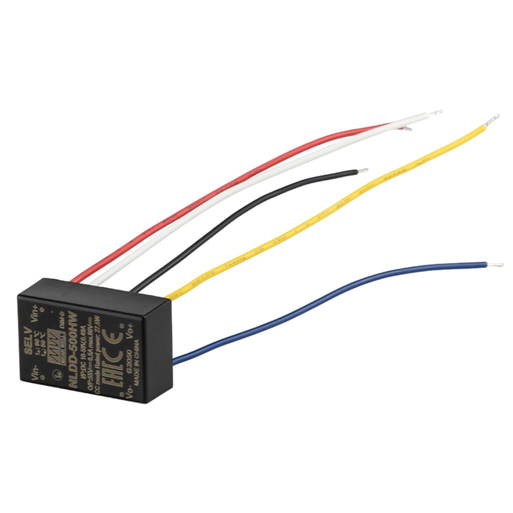 Mean Well NLDD-1200HW DC-DC Step down LED driver Constant Current (CC); Wide Input 10-56Vdc; Output 6-46Vdc at 1.2A; Wire style; PWM dimming and remote ON/OFF