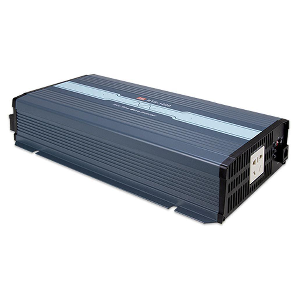 Mean Well NTS-1200-212CN DC-AC True Sine Wave Inverter 1200W; Input 12Vdc; Output 200/220/230/240VAC selectable by DIP switches; remote ON/OFF; Fanless design; AC output socket for China
