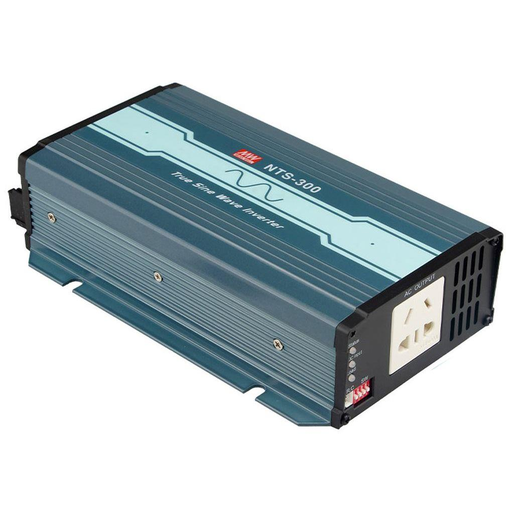 Mean Well NTS-300-248CN DC-AC True Sine Wave Inverter 300W; Input 48Vdc; Output 200/220/230/240VAC selectable by DIP switches; remote ON/OFF; Fanless design; AC output socket for China