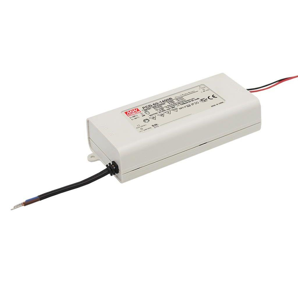 Mean Well PCD-60-1400B AC/DC C.C.  Box Type - Enclosed 43V 1.4A Single output LED driver