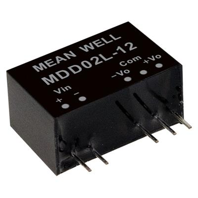 Mean Well MDD02L-12 DC/DC PCB Mount - Through Hole +-12V +-0.083A medical Converter