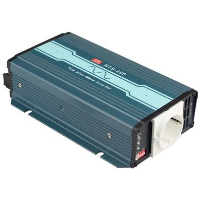 Mean Well NTS-450-248EU DC-AC True Sine Wave Inverter 450W; Input 48Vdc; Output 200/220/230/240VAC selectable by DIP switches; remote ON/OFF; Fanless design; AC output socket for Europe